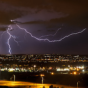 Lightning and dramatic sky during monsoon season near Albuquerque, New Mexico