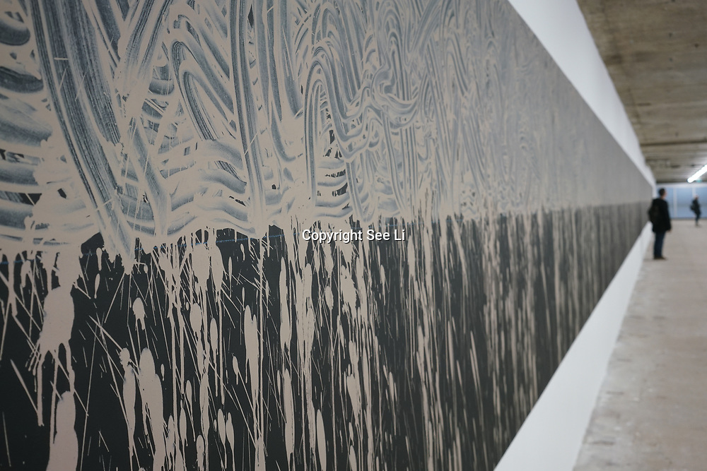 Richard Long,Pelopennese Line, 2017 art work at Everything at once showcases at  The Studios, 180 The Strand on 8th Dec 2017, London, UK.