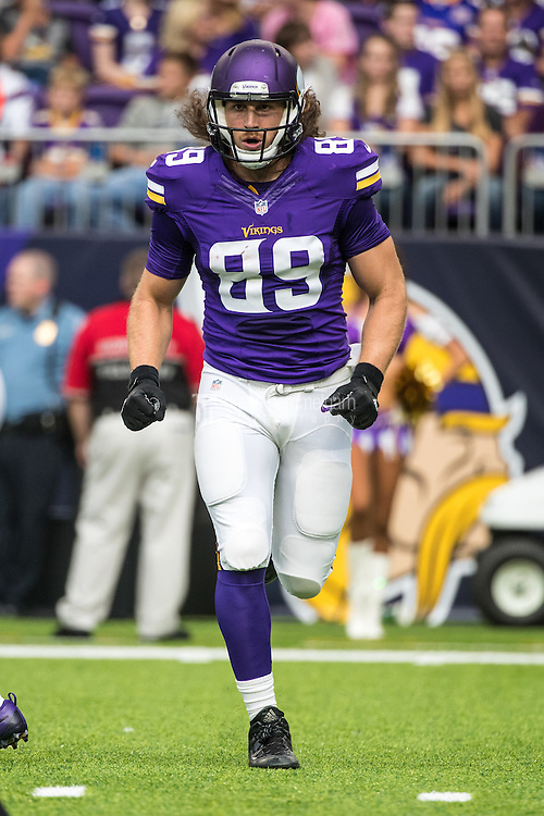 Aug 28, 2016; Minneapolis, MN, USA; Minnesota Vikings tight end David Morgan II (89) during a preseason game against the San Diego Chargers at U.S. Bank Stadium. The Vikings defeated the Chargers 23-10. Mandatory Credit: Brace Hemmelgarn-USA TODAY Sports
