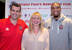 Bristol Flyers head coach Andreas Kapoulas and captain Greg Streete pose with sponsor- Mandatory by-line: Robbie Stephenson/JMP - 12/09/2016 - BASKETBALL - Ashton Gate Stadium - Bristol, England - Bristol Flyers Sponsors Event