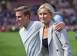 BRADFORD, ENGLAND - Saturday, July 13, 2019: Former Liverpool and Bradford City player Stephen Darby with his wife Stephanie Houghton after a pre-season friendly match between Bradford City AFC and Liverpool FC at Valley Parade. (Pic by David Rawcliffe/Propaganda)
