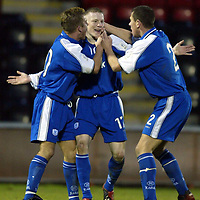 Airdrie v St Johnstone..  25.01.03<br />Mark Baxter celebrates his goal<br /><br />Pic by Graeme Hart<br />Copyright Perthshire Picture Agency<br />Tel: 01738 623350 / 07990 594431