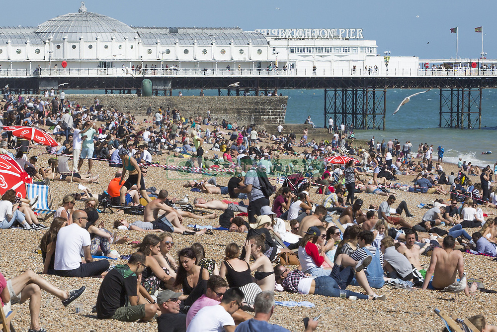 July 2, 2018 - Brighton, East Sussex, United Kingdom - Brighton, UK. Members of the public take advantage of the sunny weather to relax and sunbath on the beach in Brighton and Hove  (Credit Image: © Hugo Michiels/London News Pictures via ZUMA Wire)