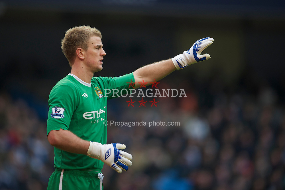 MANCHESTER, ENGLAND - Sunday, February 20, 2011: Manchester City's goalkeeper Joe Hart in action against Notts County during the FA Cup 4th Round Replay match at the City of Manchester Stadium. (Photo by David Rawcliffe/Propaganda)