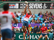 French player Tavite Veredamu wins the high ball at a restart during the game Argentina vs France during the Cathay Pacific/HSBC Hong Kong Sevens festival at the Hong Kong Stadium, So Kon Po, Hong Kong. on 7/04/2018. Picture by Ian  Muir.