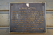 Historic plaque at the Alpine Hotel, Markleeville, California USA