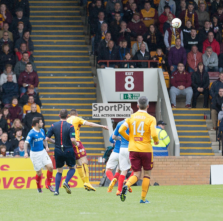 Motherwell v Rangers Scottish Premiership play-off final second leg 31 May 2015; Marvin Johnson (Motherwell, 24) hits a shot that deflects into the Rangers net during the Motherwell v Rangers Scottish Premiership play-off final second leg match played at Fir Park Stadium, Motherwell;