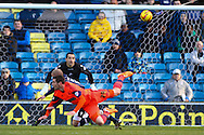 Lukas Jutkiewicz of Bolton Wanderers scores the opening goal during the Sky Bet Championship match at The Den, London<br /> Picture by David Horn/Focus Images Ltd +44 7545 970036<br /> 15/02/2014