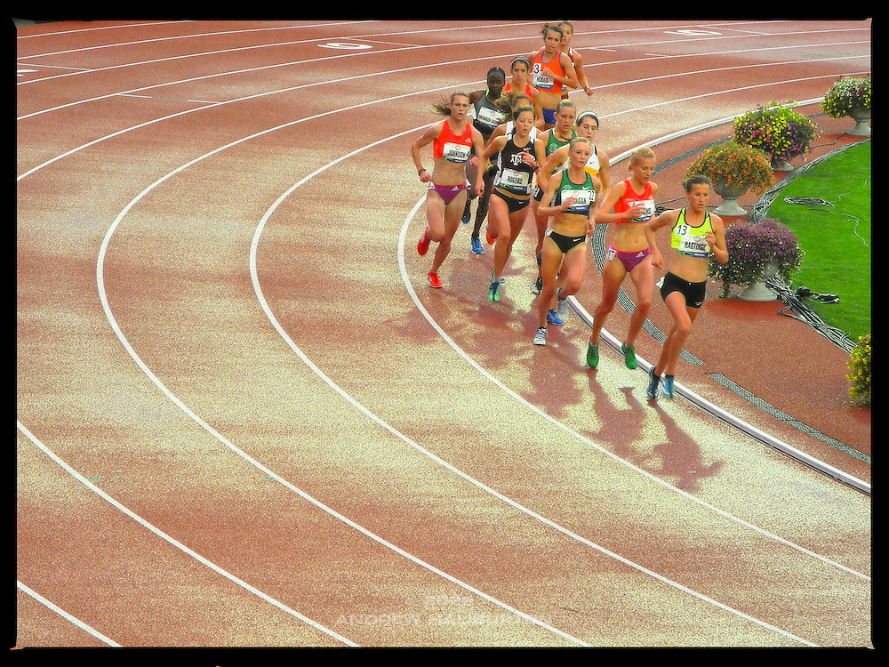 Amy Hastings leads the women's 10,000m race to victory on 22 June 2012 at the 2012 US Olympic Trials at Hayward Field, Eugene, Oregon, USA.