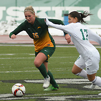 5th year defender Racquel Marshall (15) of the Regina Cougars in action during the Women's Soccer  road trip to Saskatoon on October 9 at Griffiths Stadium. Credit: Arthur Ward/Arthur Images