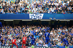 """LONDON, ENGLAND - Saturday, October 31, 2015: Chelsea supporters' banner """"The Only Way Is Jose"""" in supporter of manager Jose Mourinho during the Premier League match against Liverpool at Stamford Bridge. (Pic by Lexie Lin/Propaganda)"""