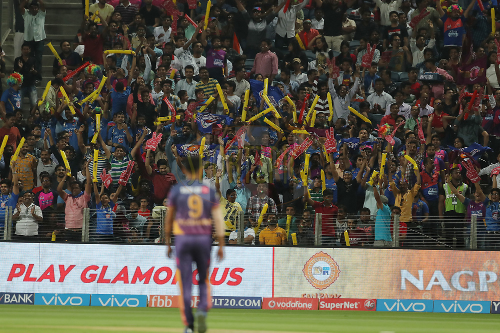 The crowd cheer as Deepak Chahar of Rising Pune Supergiant walks to the boundary during match 2 of the Vivo 2017 Indian Premier League between the Rising Pune Supergiants and the Mumbai Indians held at the MCA Pune International Cricket Stadium in Pune, India on the 6th April 2017<br /> <br /> Photo by Ron Gaunt - IPL - Sportzpics