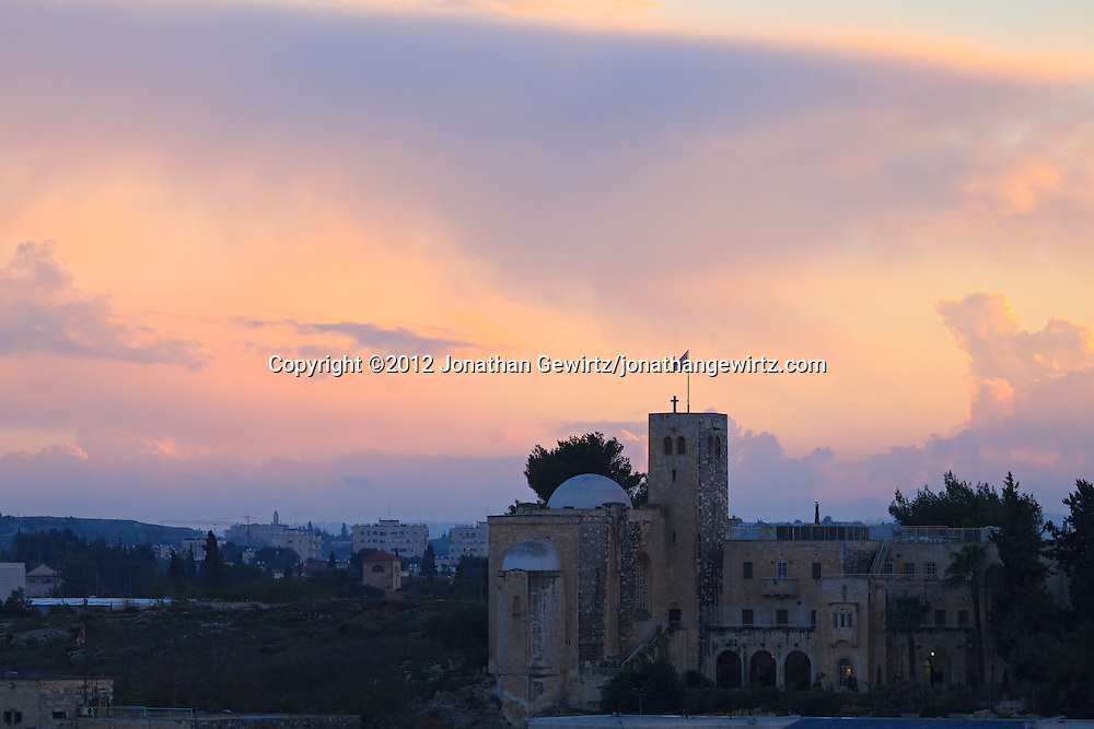 Saint Andrews Scottish church and the Jerusalem skyline at dusk. WATERMARKS WILL NOT APPEAR ON PRINTS OR LICENSED IMAGES.