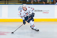 KELOWNA, CANADA - SEPTEMBER 24: Dallas Valentine #6 of the Kamloops Blazers skates with the puck against the Kelowna Rockets on September 24, 2016 at Prospera Place in Kelowna, British Columbia, Canada.  (Photo by Marissa Baecker/Shoot the Breeze)  *** Local Caption *** Dallas Valentine;