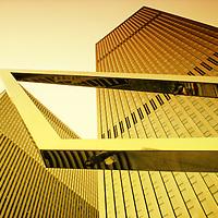 Looking up at buildings of Rockefeller Center. Manhattan, New York City.