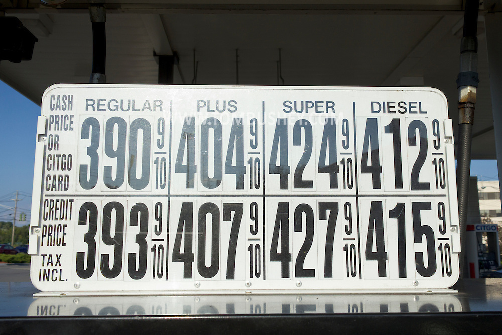 Middletown, New York - Gasoline prices are posted on a pump at a service station on Aug. 28, 2012.