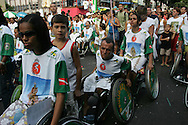 Handicapped people take their turn in the procession. Nothing stops them as they believe in the healing powers of the Saint.