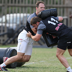 MONDAY 12th JULY 2010 / ABSA STADIUM / DURBAN<br /> SOUTH AFRICA.<br /> SHARKS CURRIE CUP TRAINING.<br /> Jacques Botes and Rory Kockott<br /> Photo Credit/Steve Haag