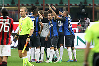 "Esultanza Inter<br /> Celebration<br /> Milano 07/10/2012 Stadio ""San Siro""<br /> Football Calcio Serie A 2012/13<br /> Milan v Inter<br /> Foto Insidefoto Paolo Nucci"
