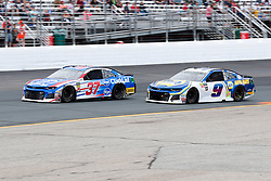 July 22, 2018 - Loudon, NH, U.S. - LOUDON, NH - JULY 22: Chase Elliott, Monster Energy NASCAR Cup Series driver of the Napa Auto Parts Chevrolet (9), passes Chris Buescher, Monster Energy NASCAR Cup Series driver of the Kroger ClickList Chevrolet (37), during the Foxwoods Resort Casino 301 on July 22, 2018, at New Hampshire Motor Speedway in Loudon, New Hampshire. (Photo by Fred Kfoury III/Icon Sportswire) (Credit Image: © Fred Kfoury Iii/Icon SMI via ZUMA Press)