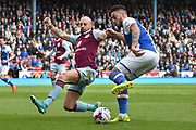 Blackburn Rovers Defender, Derrick Williams (5) and Aston Villa Defender, Alan Hutton (21) during the EFL Sky Bet Championship match between Blackburn Rovers and Aston Villa at Ewood Park, Blackburn, England on 29 April 2017. Photo by Mark Pollitt.