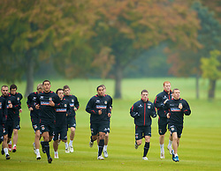 CARDIFF, WALES - Monday, October 13, 2008: Wales' captain Craig Bellamy leads his side during training at the Vale of Glamorgan Hotel ahead of the 2010 FIFA World Cup South Africa Qualifying Group 4 match against Germany. L-R: Lewin Nyatanga, Simon Davies, Ched Evans, Ashley Williams, Jason Koumas, James Collins, Craig Bellamy. (Photo by David Rawcliffe/Propaganda)
