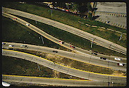 Aerial view of highway ramps in downtown St. Louis.  Missouri