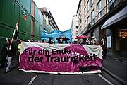 Frankfurt am Main | 18 Mar 2015<br /> <br /> Blockupy-Proteste in Frankfurt am 18.03.2015, hier: Blockupy-Abschlussdemo in der Hochstrasse, Transparent mit der Aufschrift &quot;F&uuml;r ein Ende der Traurigkeit&quot;.<br /> <br /> photo &copy; peter-juelich.com