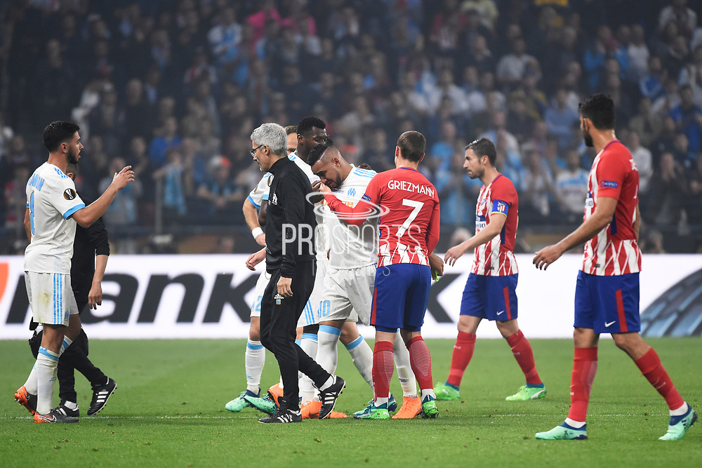 Midfielder Dimitri Payet of Olympique de Marseille leaves the pitch in tears after injury during the UEFA Europa League, Final football match between Olympique de Marseille and Atletico de Madrid on May 16, 2018 at Groupama Stadium in Decines-Charpieu near Lyon, France - Photo Jean-Marie Hervio / ProSportsImages / DPPI