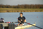 Eton, GREAT BRITAIN,  Bill LUCAS, M1X, waits at the Start, GB Trials 3rd Winter assessment at,  Eton Rowing Centre, venue for the 2012 Olympic Rowing Regatta, Trials cut short due to weather conditions forecast for the second day Sunday  13/02/2011   [Photo, Karon Phillips/Intersport-images]