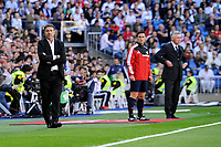 Real Madrid´s coach Carlo Ancelotti and Granada´s coach Abel Resino during 2014-15 La Liga match between Real Madrid and Granada at Santiago Bernabeu stadium in Madrid, Spain. April 05, 2015. (ALTERPHOTOS/Luis Fernandez)