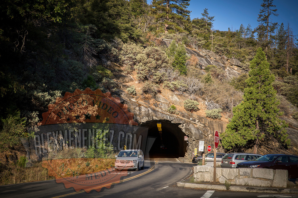 A vehicle exits the tunnel at Tunnel View inside Yosemite National Park on Sunday, September 22, 2019 in Yosemite, California. (Alex Menendez via AP)
