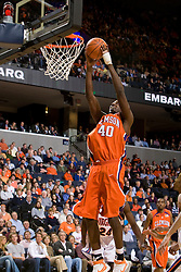 Clemson forward James Mays (40) goes up for a dunk against Virginia.  The Virginia Cavaliers men's basketball team hosted the Clemson Tigers at the John Paul Jones Arena in Charlottesville, VA on February 7, 2008.