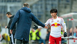 31.03.2018, Red Bull Arena, Salzburg, AUT, 1. FBL, FC Red Bull Salzburg vs RZ Pellets WAC, 28. Runde, im Bild Trainer Marco Rose (FC Red Bull Salzburg), Takumi Minamino (FC Red Bull Salzburg) // during Austrian Football Bundesliga 28th round Match between FC Red Bull Salzburg and RZ Pellets WAC at the Red Bull Arena, Salzburg, Austria on 2018/03/31. EXPA Pictures © 2018, PhotoCredit: EXPA/ JFK