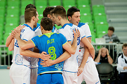 Slovenian players during qualifications match for FIVB Men's World Championship 2014 between National team Slovenia and Israel in pool B on May 24, 2013 in SRC Stozice, Ljubljana, Slovenia. (Photo By Urban Urbanc / Sportida)