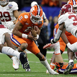 Jan 1, 2018; New Orleans, LA, USA; Clemson Tigers quarterback Kelly Bryant (2) runs the ball during the second quarter against the Alabama Crimson Tide in the 2018 Sugar Bowl college football playoff semifinal game at Mercedes-Benz Superdome. Mandatory Credit: Derick E. Hingle-USA TODAY Sports