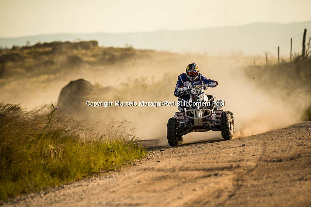 Mohamed Abu Issa  races during the 2nd stage of Rally Dakar 2015 from  Villa Carlos Paz to San Juan, Argentina on January 5th, 2015 // Marcelo Maragni/Red Bull Content Pool // P-20150105-00140 // Usage for editorial use only // Please go to www.redbullcontentpool.com for further information. //