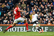 Derby County defender Marcus Olsson scores to put Derby 1-0 during the Sky Bet Championship match between Derby County and Nottingham Forest at the iPro Stadium, Derby, England on 19 March 2016. Photo by Jon Hobley.