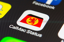 Calmac Scottish ferry company app close up on iPhone smart phone screen
