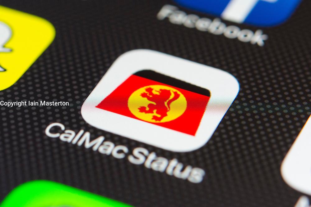 Calmac Scottish ferry company app close up on iPhone smart phone screen