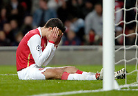 Photo: Ed Godden.<br /> Arsenal v CSKA Moscow. UEFA Champions League, Group G. 01/11/2006. Arsenal's Robin Van Persie can't believe he missed the goal.