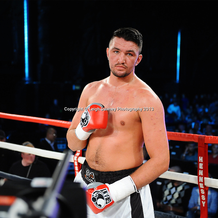 Hughie Fury defeats Shane McPhilbin after Mcphilbin retires after a should injury in a 8x3 contest on Saturday 14th September 2013 at the Magna Centre, Rotherham. Hennessy Sports. Self billing applies. © Credit: Leigh Dawney Photography.