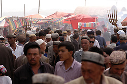 Busy famous Sunday Market in Kashgar , Xinjinag Province, China