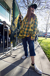 Dana Morgan of Pinole, Calif. shows off her A's tattoos during Oakland Athletics FanFest at Jack London Square on Saturday, Jan. 27, 2018 in Oakland, Calif. (D. Ross Cameron/SF Chronicle)