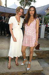 Left to right, ALICE TEMPERLEY and PADMA LAKSHMI at the annual Michele Watches Summer Party held in the gardens of Home House, 20 Portman Square, London W1 on 15th June 2006.<br />
