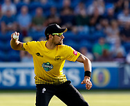 Gloucestershire's Benny Howell throws the ball<br /> <br /> Photographer Simon King/Replay Images<br /> <br /> Vitality Blast T20 - Round 8 - Glamorgan v Gloucestershire - Friday 3rd August 2018 - Sophia Gardens - Cardiff<br /> <br /> World Copyright &copy; Replay Images . All rights reserved. info@replayimages.co.uk - http://replayimages.co.uk
