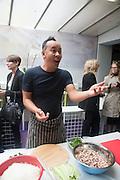 TOMAS VU-DANIEL;;   , Bloomberg Venice Conversations, Siddhartha Mukherjee, Rirkrit Tiravanija and Tomas Vu Daniel cook lunch for Sarah Sze. Palazzo Peckham. Venice. Venice Bienalle. 31 May 2013