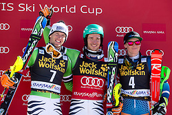 Winner NEUREUTHER Felix of Germany, second place for DOPFER Fritz of Germany and third place for KRISTOFFERSEN Henrik of Norway at medal ceremony during the 2nd Run of Men's Slalom - Pokal Vitranc 2014 of FIS Alpine Ski World Cup 2013/2014, on March 9, 2014 in Vitranc, Kranjska Gora, Slovenia. Photo by Matic Klansek Velej / Sportida