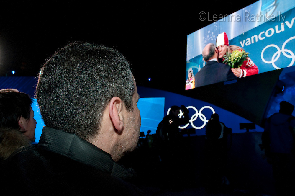 Taylor at the Victory Ceremonies during the 2010 Olympic Winter Games in Whistler, BC Canada.