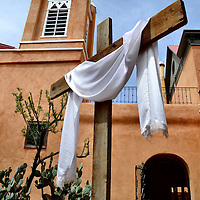 San Felipe de Neri Church with Shroud on Cross in Albuquerque Old Town, New Mexico<br />